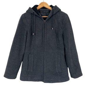 Fleet Street Wool Blend Pea Coat Hooded Gray Size Small